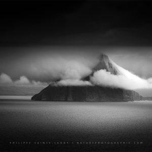 Paysage en noir et blanc - îles Féroé