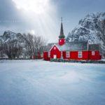 Flakstad Church sur les îles Lofoten
