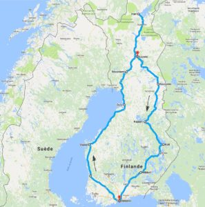 Carte de notre voyage en Finlande