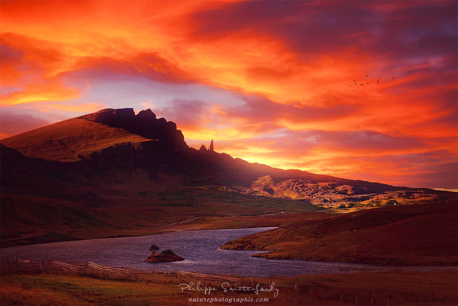 Old Man of Storr on Fire