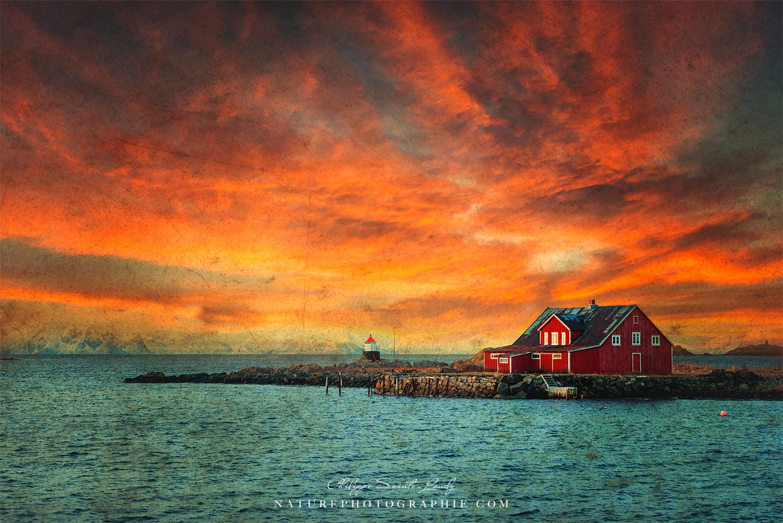 Photo d'une ferme en Norvège avec texture