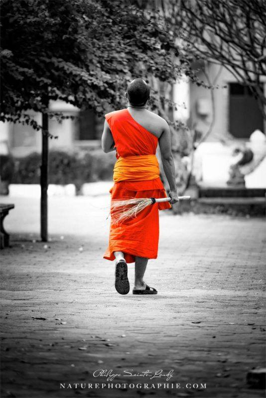 Moine bouddhiste à Vientiane