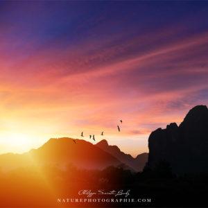Coucher de soleil à Vang Vieng