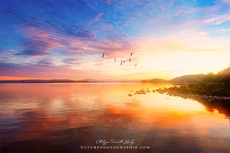 Coucher de soleil sur fond de Connemara