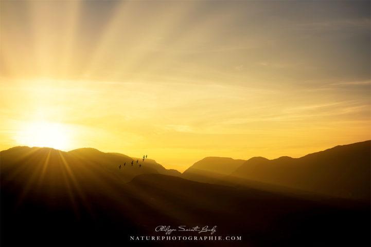 Coucher de soleil sur les montagnes du Connemara