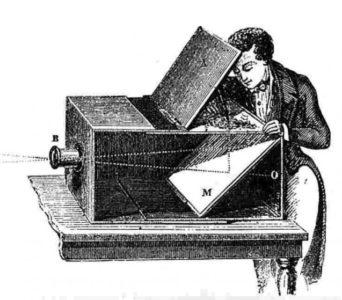 Un artiste du XVIIIe utilisant une camera obscura