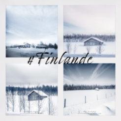 Maisons en bois sous la neige de Finlande