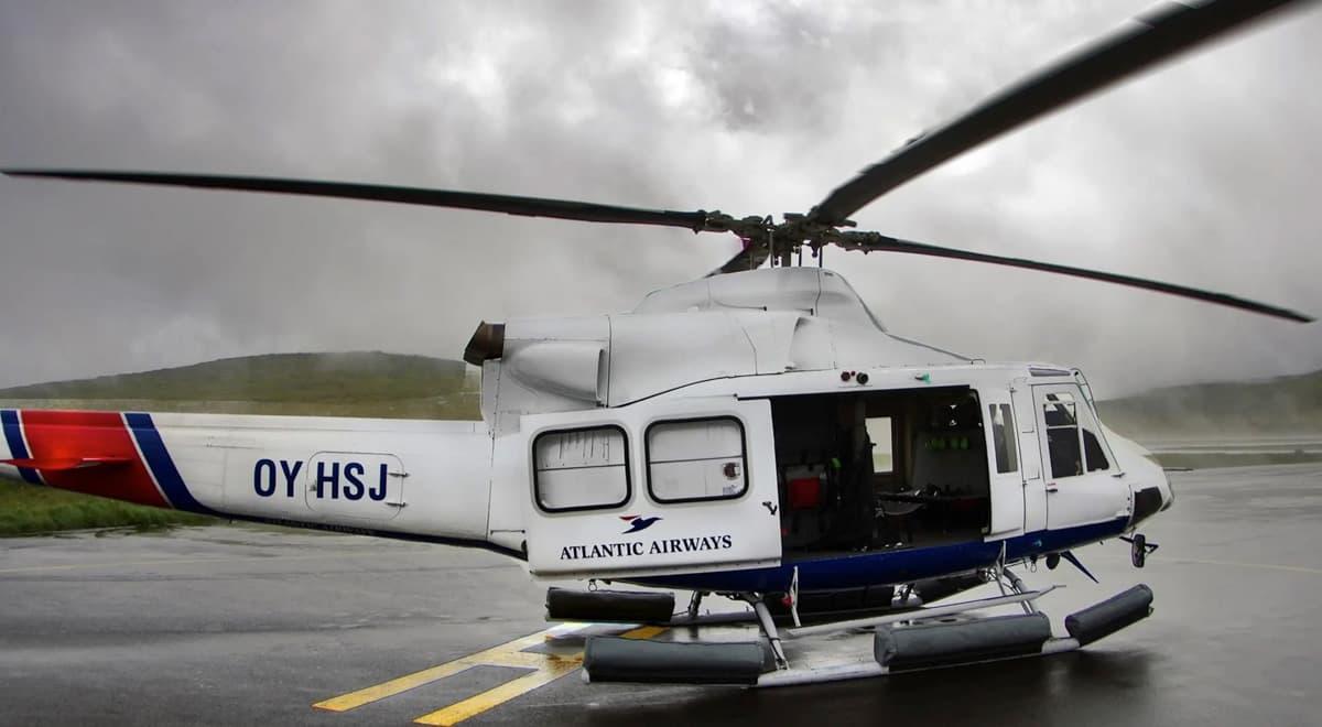 Mykines en hélicoptère