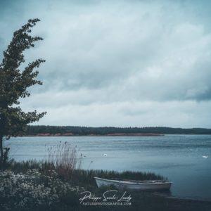 Paysage d'orage en Estonie sur l'île de Saaremaa