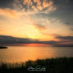 Coucher de soleil sur les marais d'Estonie