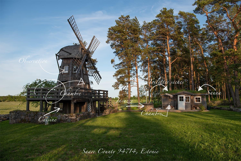 Plan et photos du moulin de Saaremaa