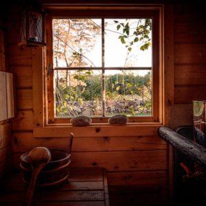 Intérieur d'un sauna en Estonie