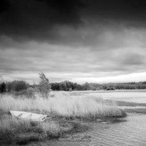 Photo noir et blanc d'un paysage en Estonie