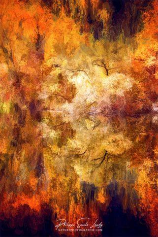 Paintographie d'une forêt en automne