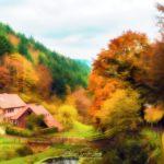 Paintographie d'une ferme Vosgienne en automne