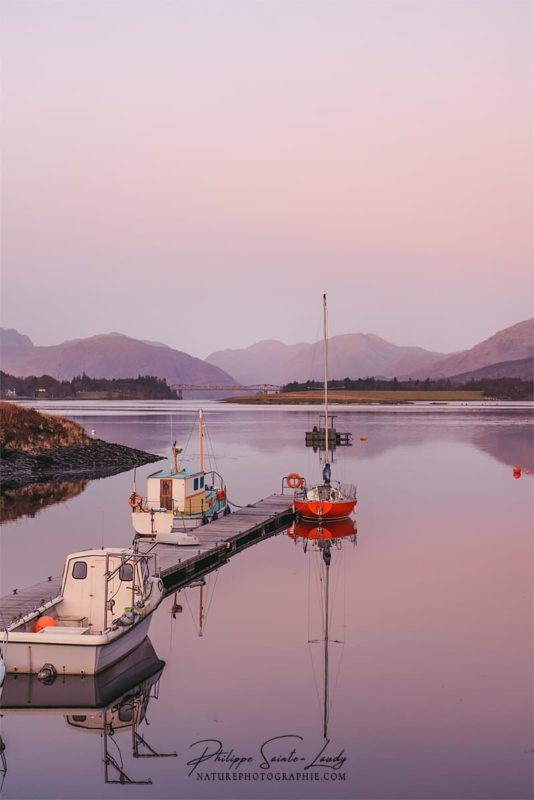 Le jour se lève sur le Loch Linnhe à Glencoe