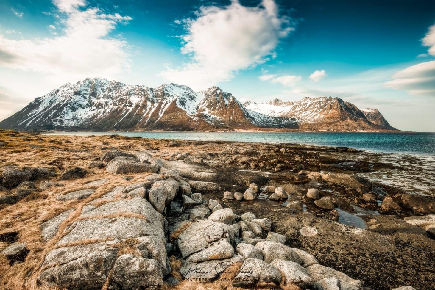 Paysage vintage des îles Lofoten