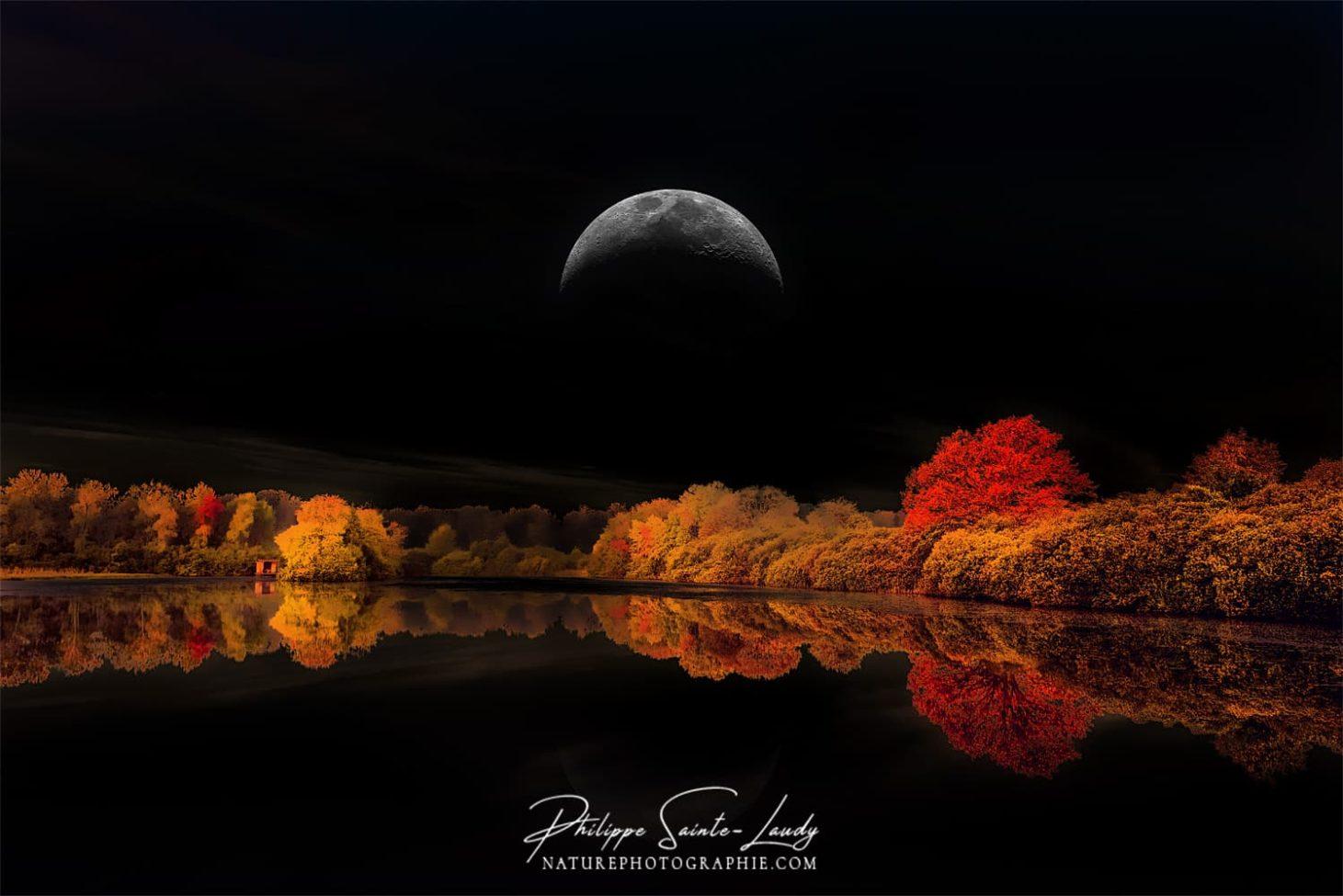 Ciel noir et paysage d'automne