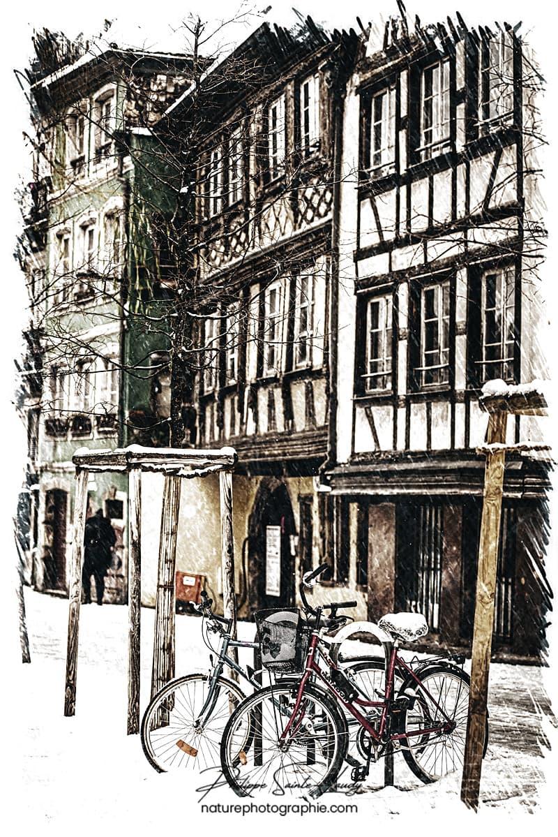 Vélos et maisons à colombages de Strasbourg